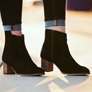 The Stella Black Suede Distressed Stitched Booties